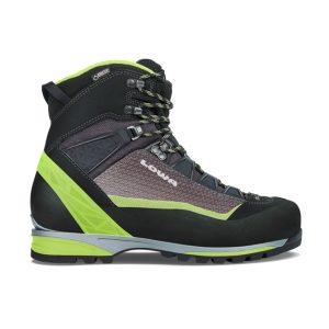 Veduta laterale dello scarpone da alpinismo Lowa Alpine Pro GTX® nei colori verde/nero