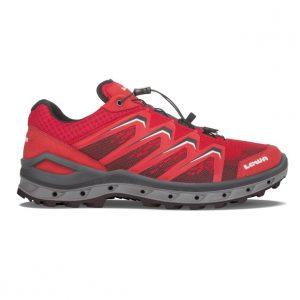 La scarpa Lowa Aerox GTX Lo in versione rosso/grigio