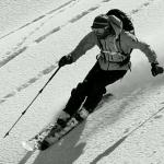 Il tester Riccardo Stacchini in neve fresca
