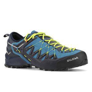 Vista laterale della scarpa Salewa Wildfire Edge da uomo colorazione blu