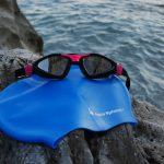 Occhiale da nuoto Aqua Sphere Kayenne usato per il test con la cuffia Aqua Sphere Classic Silicone