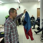 Marco di Bello mostra una giacca imbottita di ultima generazione
