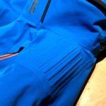 Le nervature di protezione in gomma sulle spalle della giacca da sci Marmorè di Hyra