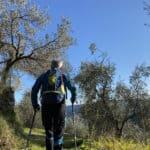 Leki Micro Vario Carbon, bastone da trekking, in azione tra gli ulivi