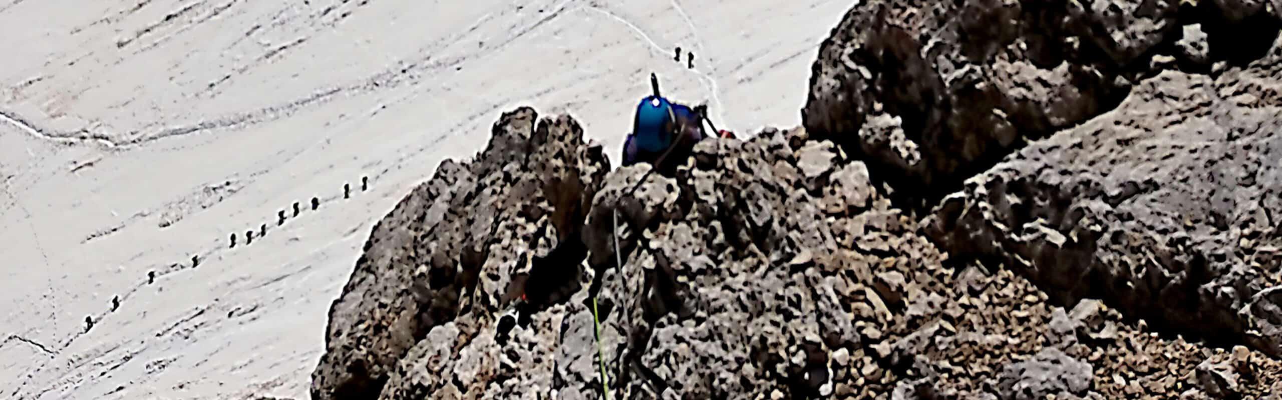 Scarpe da ferrata: come sceglierle - tratto ferrata Punta Penia